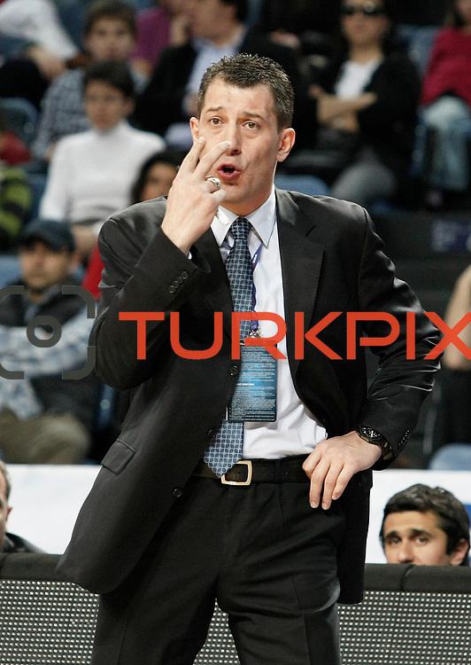 Efes Pilsen's coach Ufuk SARICA during their Turkish Basketball league match Efes Pilsen between Bornova Belediyespor at the Sinan Erdem Arena in Istanbul Turkey on Saturday 16 April 2011. Photo by TURKPIX