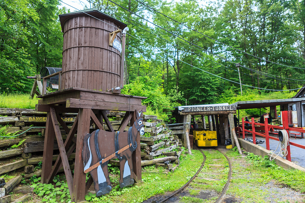 Ashland, PA, USA - June 27, 2011: Pioneer Tunnel is a tourist attraction featuring a tour of a coal mine on mine cars and a separate narrow gauge steam train ride.