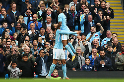 Raheem Sterling of Manchester City celebrates with Leroy Sane after scoring his sides second goal  - Mandatory by-line: Matt McNulty/JMP - 23/09/2017 - FOOTBALL - Etihad Stadium - Manchester, England - Manchester City v Crystal Palace - Premier League