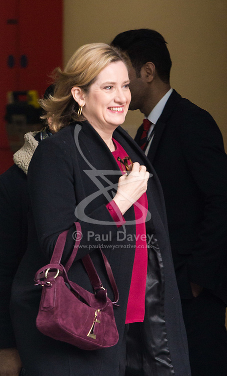 London - Home Secretary Amber Rudd leaves the BBC's Broadcasting House in London after appearing on the Andrew Marr Show. February 04 2018.