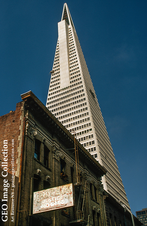 Old and new buildings pose a contrast in seismic safety. Transamerica Pyramid