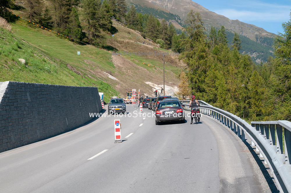 Road works on Route 27 near Brail (Zernez) region in the Swiss canton of Graubünden. in the Inn Valley