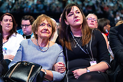 © Licensed to London News Pictures. 26/09/2021. Brighton, UK. MARGARET HODGE and RUTH SMEETH in the conference hall during a debate on new rules designed to counter anti-Semitism within the Labour Party. The second day of the 2021 Labour Party Conference , which is taking place at the Brighton Centre . Photo credit: Joel Goodman/LNP