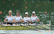 Lucerne, SWITZERLAND,  GER Gold medalist  W4X  - Bow, Sophie DUNSING, Peggy WALESKA, Tina MANKER and Stephanie SCHILLER. Third round of the  2009 FISA World Cup,  Rotsee Regatta Course, Sunday  12/07/2009 [Mandatory Credit Peter Spurrier/ Intersport Images]