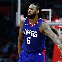 31 December 2017: LA Clippers center DeAndre Jordan (6) reacts during the LA Clippers 106-98 victory over the Charlotte Hornets, at the Staples Center, Los Angeles, California, USA.