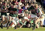 Twickenham, Surrey, England, UK., 25th January 2003, Zurich Premiership Rugby, Stoop Memorial Ground, England, Harlequins vs Leicester Tigers,<br /> [Mandatory Credit: Peter Spurrier/Intersport Images],<br /> Powergen Cup Quarter final Harlequins v Leicester<br /> Paul Burke look's for a way through the Leicester defenders'.
