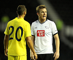 Derby County's Alex Pearce is marked by Villarreal CF's Pablo Iniguez - Mandatory by-line: Robbie Stephenson/JMP - 07966386802 - 29/07/2015 - SPORT - FOOTBALL - Derby,England - iPro Stadium - Derby County v Villarreal CF - Pre-Season Friendly