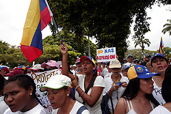 May 6, 2017 - Valencia, Carabobo, Venezuela - Members of civil society, political parties, students, all fighters of the resistance against the government of President Nicolas Maduro, concentrated on the redoubt of Guaparo, to pray a rosary in memory of the fallen in the various protests. Then they decided to march through the city. In Valencia, Carabobo state. Photo: Juan Carlos Hernandez (Credit Image: © Juan Carlos Hernandez via ZUMA Wire)