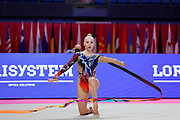 Moustafaeva Kseniya of France competes during the Rhythmic Gymnastics Individual ribbon qulification of the World Cup at Vitrifrigo Arena  on May 29, 2021,in Pesaro Italy. She is a French individual rhythmic gymnast of Belarusian origin born in Minsk in 1994.