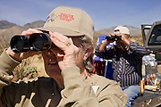 02 APRIL 2006 - THREE POINTS, AZ: WANDA WEATHORFORD, a Minuteman volunteer from Denver, CO, and DAVE VYSTRCIL, a Minuteman volunteer from Tucson, AZ, scan the desert for signs of illegal immigrants during the Minuteman Project action on Elkhorn Ranch Rd. between Three Points, AZ, and Sasabe, AZ, about 60 miles south of Tucson, AZ, April, 2, 2006. Volunteers from the Minuteman Project have set up lines of observation posts on remote county roads in the desert southwest of Tucson to monitor the area for illegal immigrant traffic. On Saturday night, the first night of the action, Minuteman volunteers spotted more than 50 illegal immigrants and claim their tips to the US Border Patrol led to the apprehension of at least 16 of those immigrants.  Photo by Jack Kurtz
