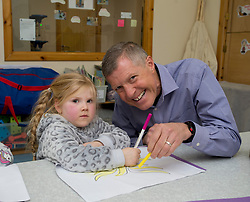 Pictured: Willie Rennie joins 4 year old Ella doing some colouring in.<br /> <br /> Scottish Liberal Democrat Leader Willie Rennie visited the Lauriston nursery in Dunfermline to promote the party's new policy to provide money for free childcare for children from nine months in Scotland and invest in Scottish schools and nurseries.<br /> <br /> © Dave Johnston / EEm