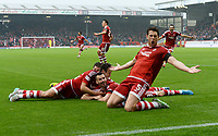 12/09/15 LADBROKES PREMIERSHIP<br /> ABERDEEN v CELTIC <br /> PITTODRIE - ABERDEEN<br /> Aberdeen's Paul Quinn (3rd from right) celebrates his goal with his team-mates