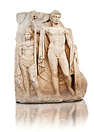 Sculpture of Roman Emperor Tiberius and a barbarian captive. Aphrodisias Archaeological museum, Turkey .<br /> <br /> If you prefer to buy from our ALAMY STOCK LIBRARY page at https://www.alamy.com/portfolio/paul-williams-funkystock/greco-roman-sculptures.html . Type -    Aphrodisias     - into LOWER SEARCH WITHIN GALLERY box - Refine search by adding a subject, place, background colour, museum etc.<br /> <br /> Visit our ROMAN WORLD PHOTO COLLECTIONS for more photos to download or buy as wall art prints https://funkystock.photoshelter.com/gallery-collection/The-Romans-Art-Artefacts-Antiquities-Historic-Sites-Pictures-Images/C0000r2uLJJo9_s0
