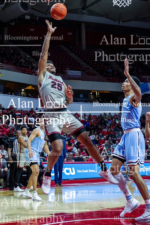 NORMAL, IL - February 08: Jaycee Hillsman shoots a fade against Christian Williams during a college basketball game between the ISU Redbirds and the Indiana State Sycamores on February 08 2020 at Redbird Arena in Normal, IL. (Photo by Alan Look)