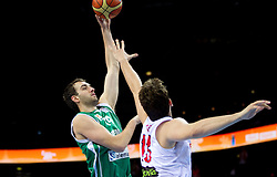 Mirza Begic of Slovenia vs Marc Gasol of Spain during basketball game between National basketball teams of Spain and Slovenia at Quarterfinals of FIBA Europe Eurobasket Lithuania 2011, on September 14, 2011, in Arena Zalgirio, Kaunas, Lithuania.  (Photo by Vid Ponikvar / Sportida)