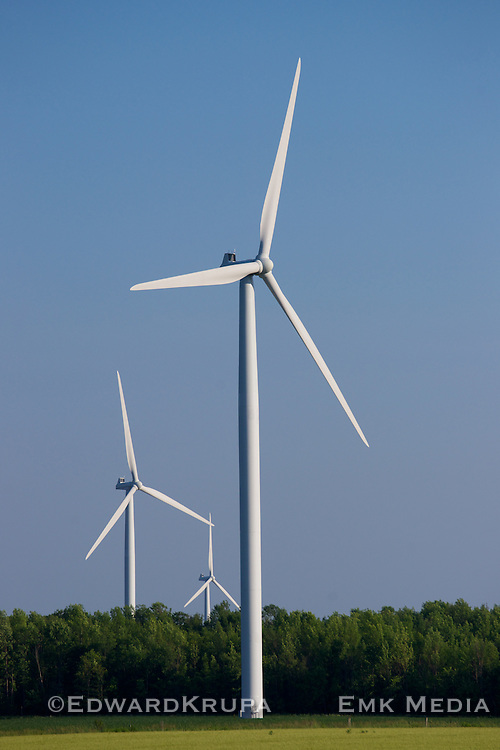 3 of the 110 Vestas V82 Wind Turbines operating as part of the Enbridge Ontario Wind Farm on 5,600 hectares of farmland north of Kincardine, Ontario along the shore of Lake Huron.