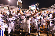 Duke celebrates their 28-17 win over Virginia during an ACC football game Saturday in Charlottesville, VA.  Photo/Andrew Shurtleff