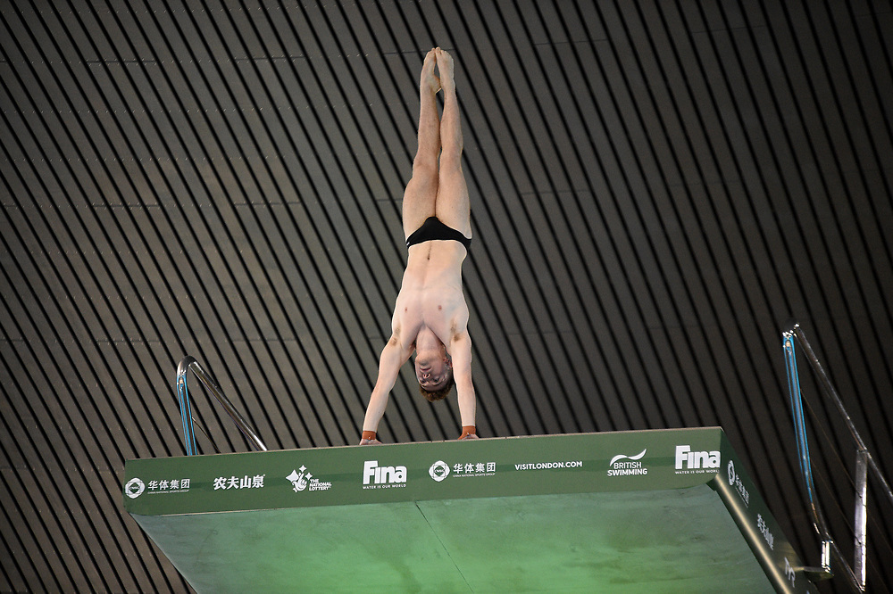 Great Britain's Matty Lee competing in the Men's 10m platform semifinal B<br /> <br /> Photographer Hannah Fountain/CameraSport<br /> <br /> FINA/CNSG Diving World Series 2019 - Day 3 - Sunday 19th May 2019 - London Aquatics Centre - Queen Elizabeth Olympic Park - London<br /> <br /> World Copyright © 2019 CameraSport. All rights reserved. 43 Linden Ave. Countesthorpe. Leicester. England. LE8 5PG - Tel: +44 (0) 116 277 4147 - admin@camerasport.com - www.camerasport.com