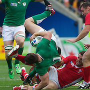 Gordon D'Arcy, Ireland, is tackled by Jamie Roberts, Wales, during the Ireland V Wales Quarter Final match at the IRB Rugby World Cup tournament. Wellington Regional Stadium, Wellington, New Zealand, 8th October 2011. Photo Tim Clayton...