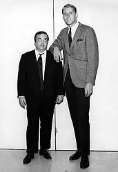 Oakland Oaks basketball star Rick Barry along side comedian Allan Sherman. (1967 photo by Ron Riesterer)
