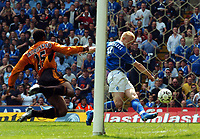 Picture: Henry Browne.<br /> Date: 25/04/2004.<br /> Birmingham City v Wolverhampton Wanderers FA Barclaycard Premiership.<br /> <br /> Mikael Forssell scores City's equaliser past Wolves' Isaac Okoronkwo.