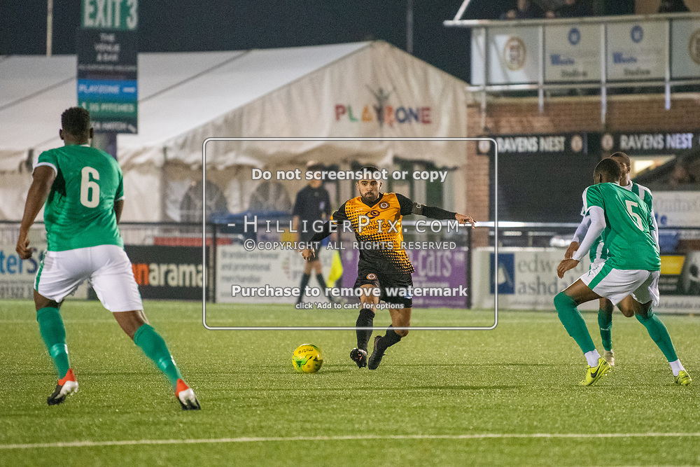 BROMLEY, UK - OCTOBER 30: Barney Williams, of Cray Wanderers FC, during the Kent Senior Cup match between Cray Wanderers and VCD Athletic at Hayes Lane on October 30, 2019 in Bromley, UK. <br /> (Photo: Jon Hilliger)