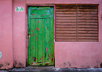 BARACOA, CUBA - CIRCA JANUARY 2020: Typical colorful home on the streets of Baracoa