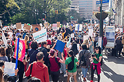 20 September 2019 - New York, NY.  Thousands of students as well as adults gathered in New York for the Global Climate Strike, meeting in Foley Square near the Federal Government buildings and New York's City Hall, and marching downtown to Battery Park, where Swedish climate activist and spokesperson Greta Thunberg addressed the crowd. The crowd marches down Broadway towards Battery Park.