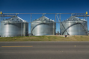 Grain silos used to store rice in rural Elton, Louisiana.