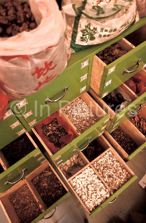 800 varieties of plants, roots, bark, peel, leaves, etc. are stored by Chinese Herbalist Chen Yi He, he is able to dispense from his clinic, Xiao Meng Yang town, Yunnan province, China.