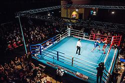 Tomi Lorencic of Slovenia (BLUE) fights against Marcel Meinl of Austria (RED) in Elite 64 kg Category during Dejan Zavec Boxing Gala event in Sentilj, on September 30, 2017 in Mond, Casino & Hotel, Sentilj, Slovenia. Photo by Vid Ponikvar / Sportida