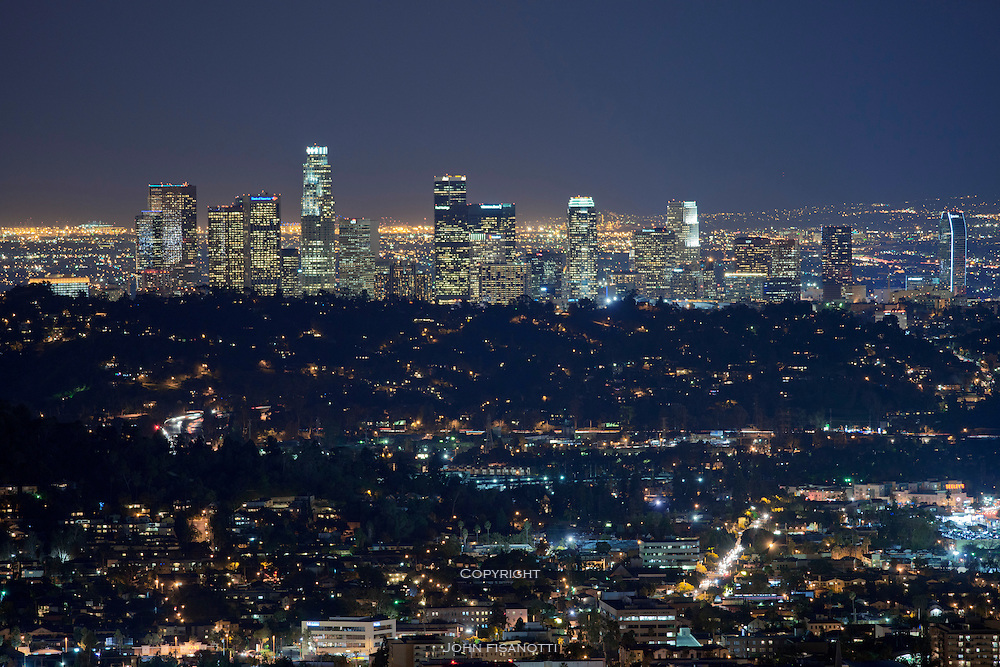 Downtown Los Angeles at night, viewed from Glendale California