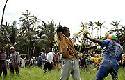 Combatants fight with banana leaf steams during the Makunduchi fighting festival in Zanzibar, Tanzania, Africa. Wednesday,July 23rd 1997