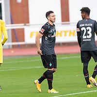 07.10.2020, wohninvest Weserstadion Platz 11, Bremen, GER, FSP SV WERDER BREMEN  vs 1. FC St. Pauli<br /> <br /> im Bild / picture shows <br /> <br /> <br /> Eduardo Dos Santos Haesler (Werder Bremen II #38)<br /> Kevin Möhwald / Moehwald (Werder Bremen #06)<br /> Theodor Gebre Selassie (Werder Bremen #23)<br /> Querformat<br /> <br /> Foto © nordphoto / Kokenge