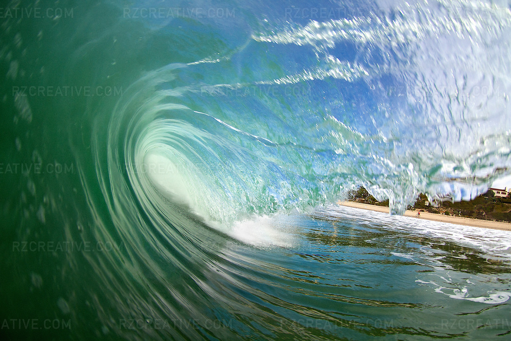 Water shot of a hollow breaking wave.