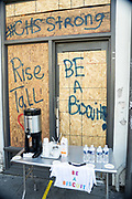 Charleston, United States. 31 May, 2020. A message and drinks left by a boarded up shop damaged when protests over the death of George Floyd, turned violent and destructive May 31, 2020 in Charleston, South Carolina. Floyd was choked to death by police in Minneapolis resulting in protests sweeping across the nation.  Credit: Richard Ellis/Alamy Live News