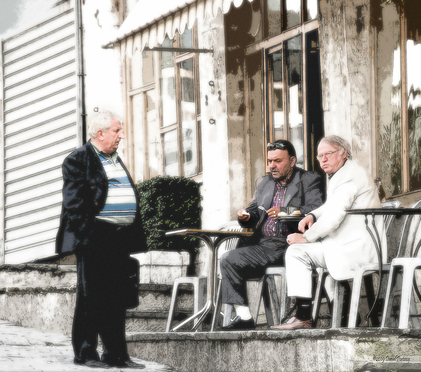 Business meeting in coffee shop in Gjirokastra, Albania