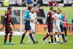 16.04.2016, BayArena, Leverkusen, GER, 1. FBL, Bayer 04 Leverkusen vs Eintracht Frankfurt, 30. Runde, im Bild Haris Seferovic (Eintracht Frankfurt #9) diskutiert mit Schiedsrichter Deniz Aytekin (Oberasbach) zum Halbeitzpfiff // during the German Bundesliga 30th round match between Bayer 04 Leverkusen and Eintracht Frankfurt at the BayArena in Leverkusen, Germany on 2016/04/16. EXPA Pictures © 2016, PhotoCredit: EXPA/ Eibner-Pressefoto/ Schüler<br /> <br /> *****ATTENTION - OUT of GER*****