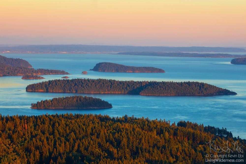 Several islands are visible along with Skagit Bay in this view from the summit of Mount Erie in Anacortes, Washington. From front to back, The Skagit Island Marine State Park, Hope Island, Deadman Island and Little Deadman Island are among the islands visible.