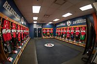 KAMLOOPS, CANADA - NOVEMBER 5:  The Team WHL dressing room on November 5, 2018 at Sandman Centre in Kamloops, British Columbia, Canada.  (Photo by Marissa Baecker/Shoot the Breeze)