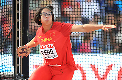 China's Bin Fend competes in the Women's Discus Throw Qualifying during day eight of the 2017 IAAF World Championships at the London Stadium