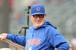 May 15, 2018 - Atlanta, GA, U.S. - ATLANTA, GA Ð MAY 15:  Cubs manager Joe Maddon has a laugh in the dugout prior to the start of the game between Atlanta and Chicago on May 15th, 2018 at SunTrust Park in Atlanta, GA. (Photo by Rich von Biberstein/Icon Sportswire) (Credit Image: © Rich Von Biberstein/Icon SMI via ZUMA Press)