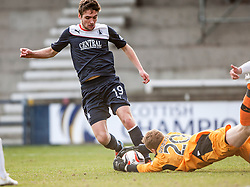 Falkirk's Luke Leahy and Raith Rovers keeper Lee Robinson.<br /> Raith Rovers 2 v 4 Falkirk, Scottish Championship game today at Starks Park.<br /> © Michael Schofield.