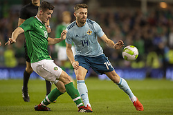 November 15, 2018 - Dublin, Ireland - Darragh Lenihan of Ireland fights for the ball with Stuart Dallas of N.Ireland during the International Friendly match between Republic of Ireland and Northern Ireland at Aviva Stadium in Dublin, Ireland on November 15, 2018  (Credit Image: © Andrew Surma/NurPhoto via ZUMA Press)