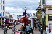 Main Street view with tourists, Mackinac Island, Michigan, USA.