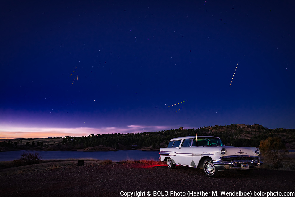 Orionids Over Orion  <br /> 2018: Tumbleweed Campground in Curt Gowdy State Park, Wyoming  <br /> $ 388 Original Aluminum Gallery Print 24x36 <br /> $ 71 Limited Edition of 11 Kodak Endura Metallic Photographic Prints (8x12)