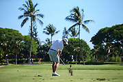 Sam Burns of LSU hits his approach shot on number eighteen during the second round of the 3rd annual Kaanapali Classic collegiate invitational. Kaanapali Royal Course Lahaina, Hawaii November 5th, 2016/ Photo by Aric Becker