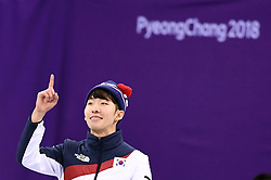 PYEONGCHANG, Feb. 10, 2018  South Korea's Lim Hyojun celebrates after the men's 1500m final of short track speed skating event on the 2018 Pyeongchang Winter Olympic Games at Gangneung Ice Arena, South Korea, Feb. 10, 2018. Lim Hyojun won the gold medal in a time of 2:10.485 and set a new Olympic record of the event. (Credit Image: © Ju Huanzong/Xinhua via ZUMA Wire)