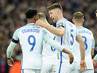 Football - 2016 / 2017 World Cup Qualifier - Group F: England vs. Scotland<br /> <br /> Gary Cahill celebrates his goal with fellow Goalscorer Daniel Sturridge at Wembley.<br /> <br /> COLORSPORT/ANDREW COWIE