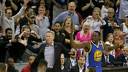 Golden State Warriors head coach Steve Kerr and Draymond Green react after a first-quarter foul call in action against the Cleveland Cavaliers during Game 4 of the NBA Finals at Quicken Loans Arena in Cleveland on Friday, June 9, 2017. (Photo by Phil Masturzo/Akron Beacon Journal/TNS) *** Please Use Credit from Credit Field ***